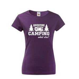 Dámske tričko s karavanom - Adventure Camping what else?