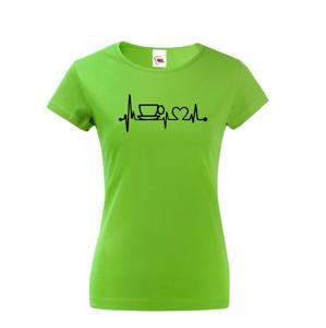 Dámske tričko Srdcový tep káva - tričko pre milovníčky kávy