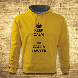Mikina s kapucňou s motívom Keep calm and call the lawyer