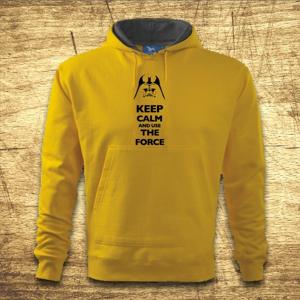 Mikina s kapucňou s motívom Keep calm and use the force.