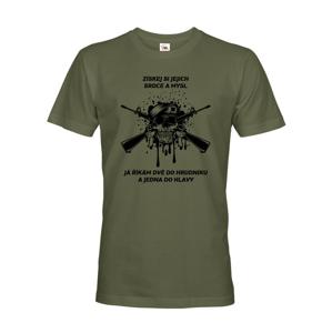 Pánske army tričko Dve do hrudníka a jedna do hlavy - ideálne pre military