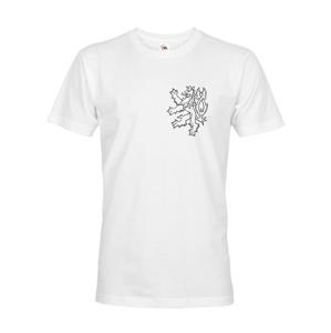 Pánske retro tričko s Českým levom  na srdci - vlastenecké tričko