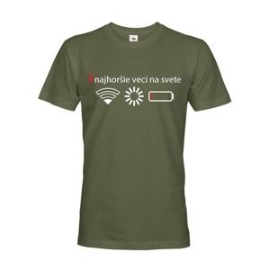 Pánske tričko 3 najhoršie veci na svete - tričko pre všetkých mobilných závislákov