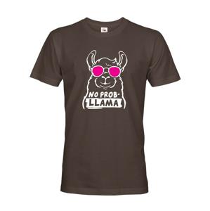 Pánske tričko No Prob - LLama - veselá potlač s ešte veselšími farbami