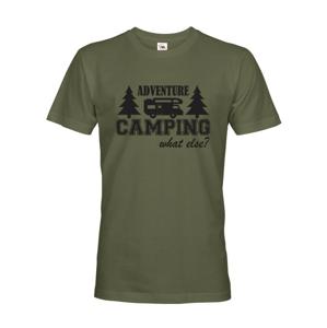 Pánske tričko s karavanom - Adventure Camping what else?