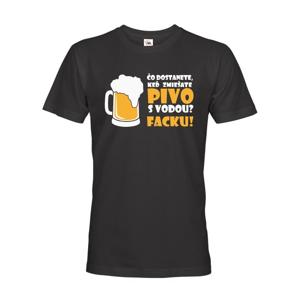 Pánske tričko s pivným motívom Čo dostaneme keď zmiešame pivo s vodou? Facku!