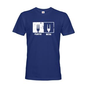 Pánske tričko s potlačou Plastic vs Metal - paródia na metalové tričká