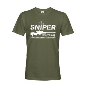 Pánske tričko Sniper - Neutekaj, zbytečně umrieš unavený - vysoká gramáž trička