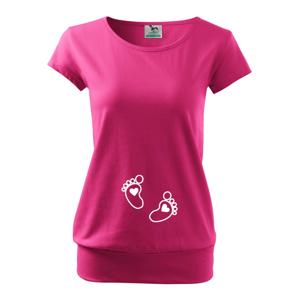 Tričko pre budúce mamičky s vtipnou potlačou nožičky