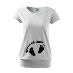 Vtipné tehotenské tričko pre budúce mamičky s potlačou Arriving soon